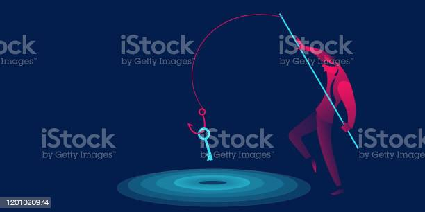 Phishing Scam Hacker Business Concept In Red And Blue Neon Gradients Man With Fishing Hook Stealing Key - Immagini vettoriali stock e altre immagini di Adulto