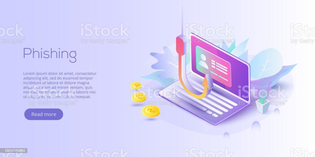 Phishing Via Internet Isometric Vector Concept Illustration