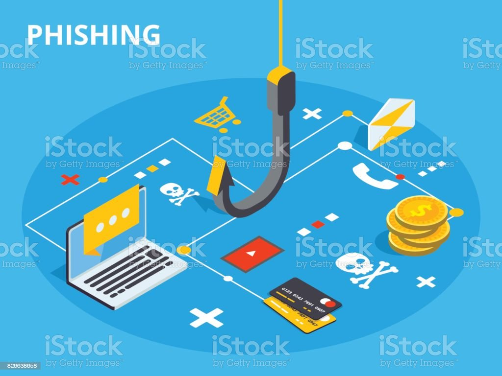 Phishing via internet isometric vector concept illustration. Email spoofing or fishing messages. Hacking credit card or personal information website. Cyber banking account attack. Online sucurity. vector art illustration