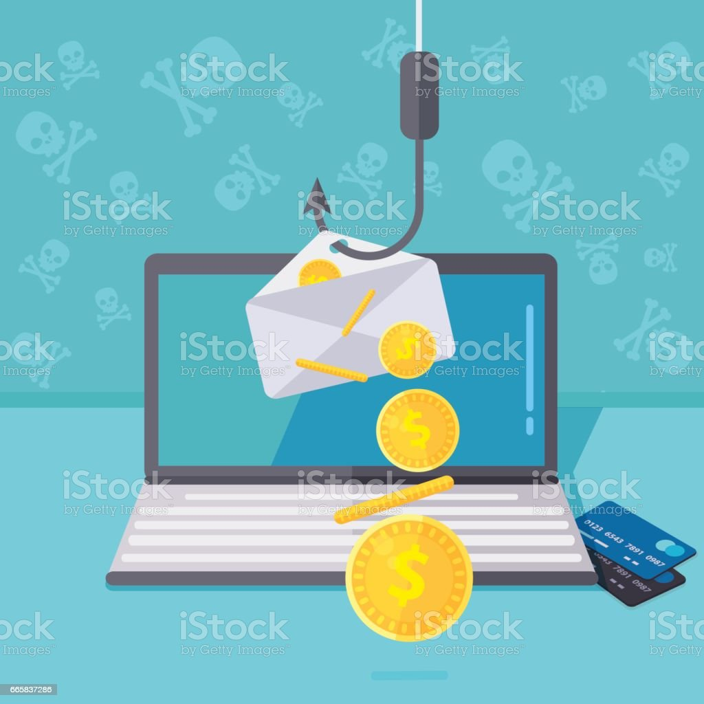Phishing via internet vector illustration. Fishing by email spoofing or instant messaging. Hacking credit card or personal website. Cyber banking account attack. Online sucurity. vector art illustration