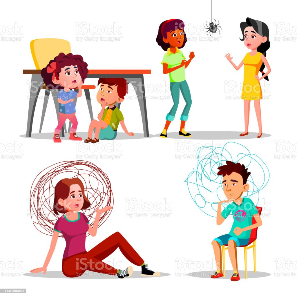 Phobia, Anxiety, Panic Attack, Depression Vector Set. Frightened,...