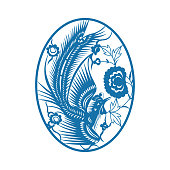 Phoenix and Peony(Chinese paper-cut art)