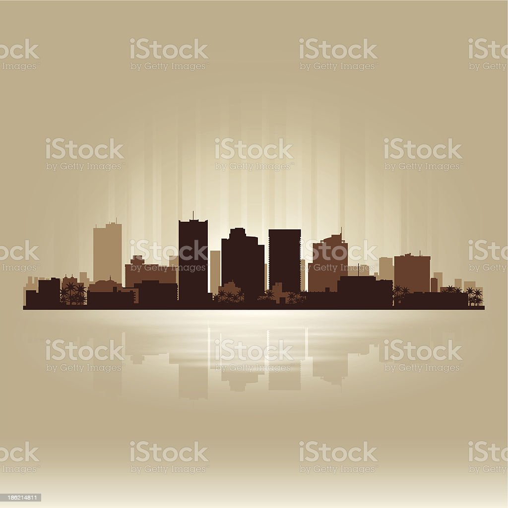Phoenix Arizona brown skyline city silhouette vector art illustration
