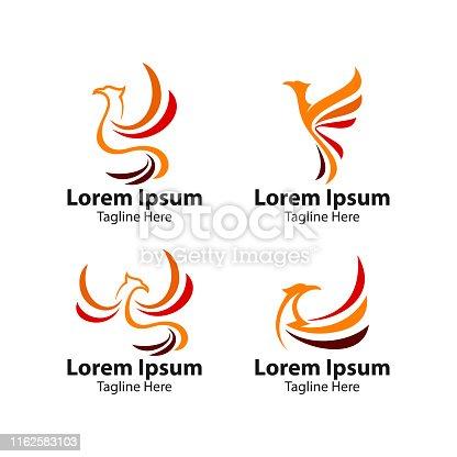 phoenix bird logo concept. vector logo bird. creative logo for mythological bird. a unique bird , a flame born from ashes