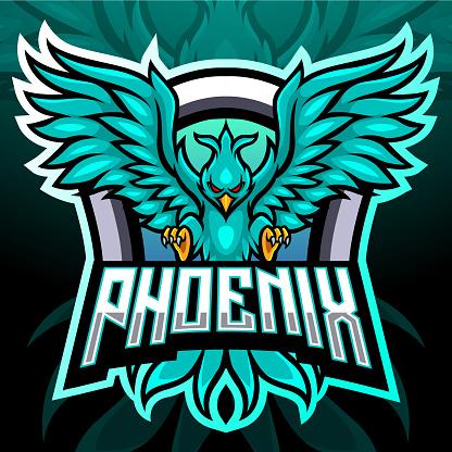 Phoenix bird mascot. esport logo design