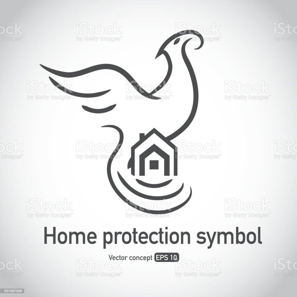Phoenix Bird Protecting Home Symbol Stock Vector Art More Images