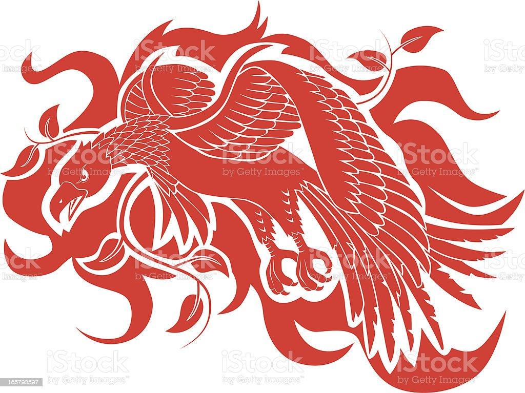 Phoenix bird silhouette vector art illustration