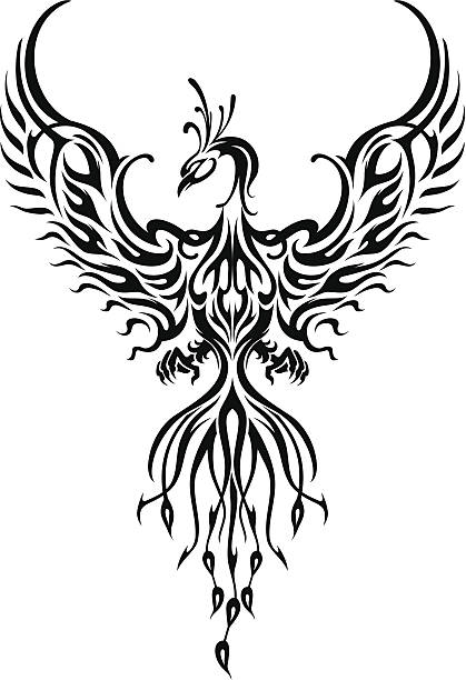 phoenix bird tattoo - fire tattoos stock illustrations, clip art, cartoons, & icons