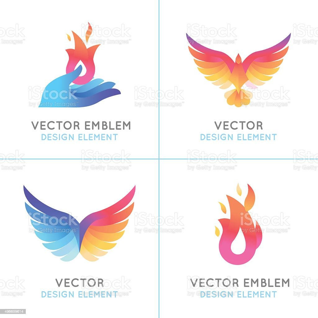 Phoenix birds and fire icons vector art illustration