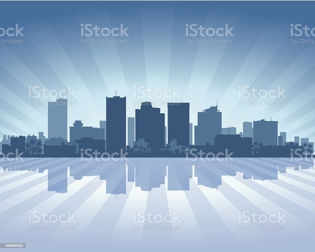 Phoenix Blue City skyline silhouette vector art illustration
