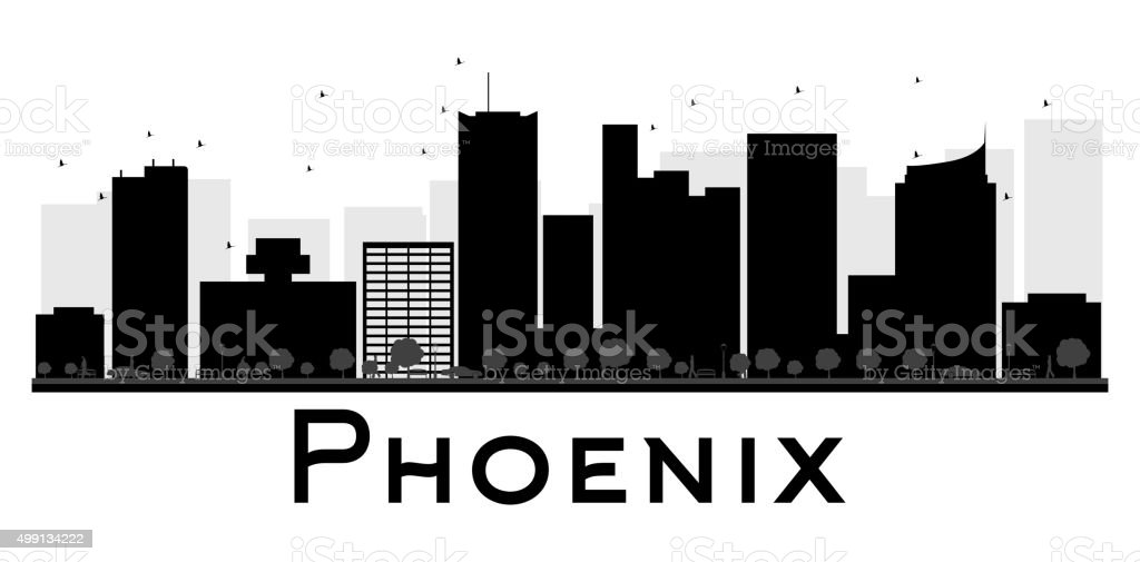 Phoenix City skyline black and white silhouette vector art illustration