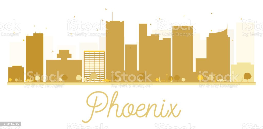Phoenix City skyline golden silhouette. vector art illustration