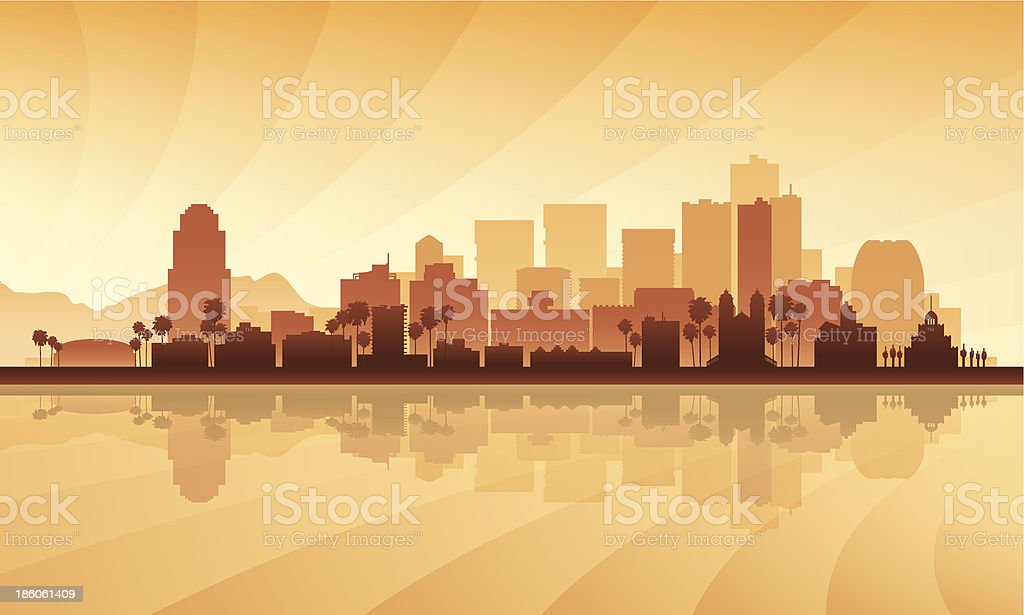 Phoenix city skyline in orange-tones silhouette vector art illustration