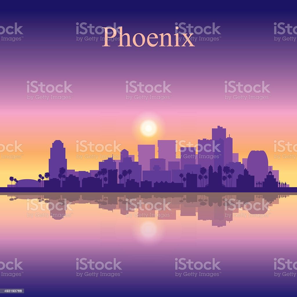 Phoenix city skyline silhouette background vector art illustration