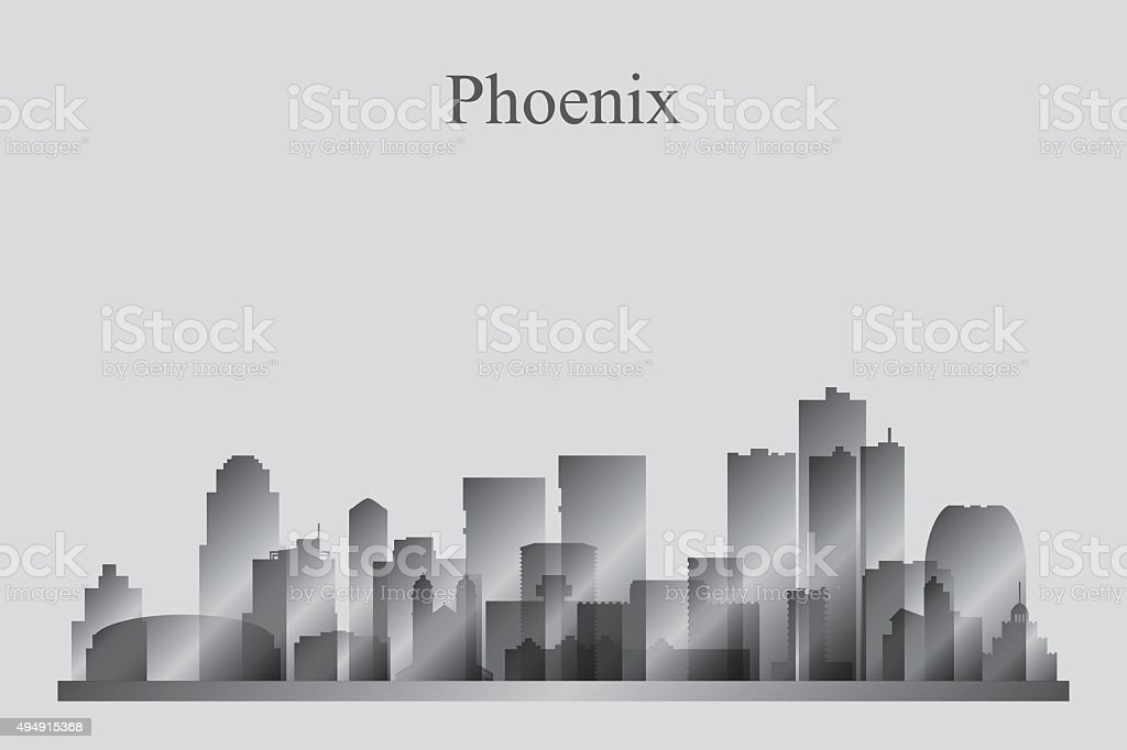 Phoenix city skyline silhouette in grayscale vector art illustration