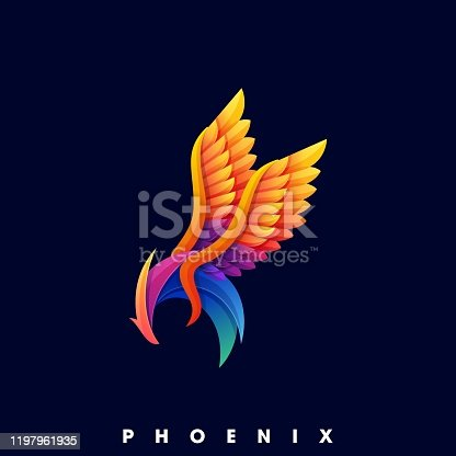 Phoenix Color Illustration Vector Template. Suitable for Creative Industry, Multimedia, entertainment, Educations, Shop, and any related business.