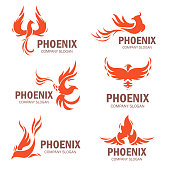 Phoenix company slogan set. Rising from the ashes bird, symbol and idea of strong business. Vector flat style illustration isolated on white background