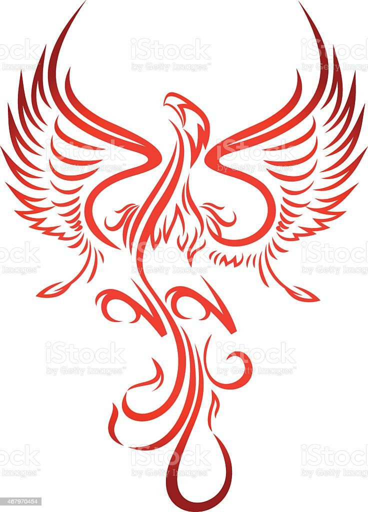 phoenix drawn with red lines on white background stock frames clip art borders flames clipart png