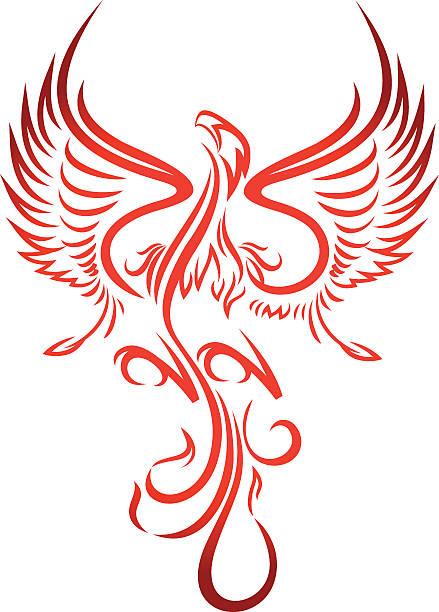 フェニックス - 鳥のタトゥー点のイラスト素材/クリップアート素材/マンガ素材/アイコン素材
