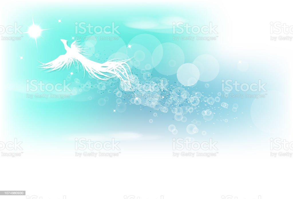 Phoenix Fantasy Bird Flying On Blurry Blue Sky Abstract