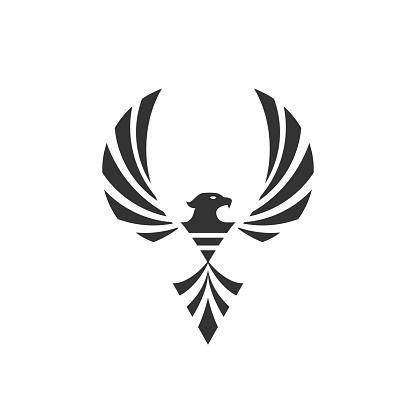 Phoenix logo mascot illustration - blazing fire fighter fantasy hawk eagle predator burn flying hot