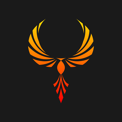 Phoenix logo mascot illustration - blazing fire fighter fantasy hawk eagle predator burn flying hot freedom symbol wings falcon fly