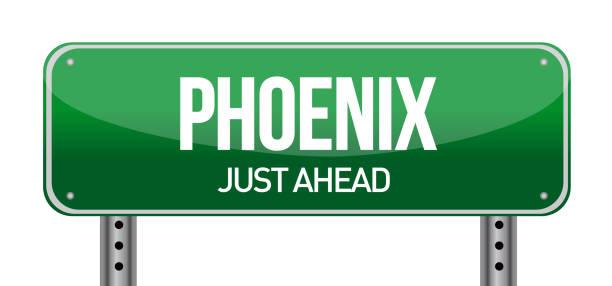 stockillustraties, clipart, cartoons en iconen met phoenix road sign afbeelding ontwerp op een witte achtergrond - arizona highway signs