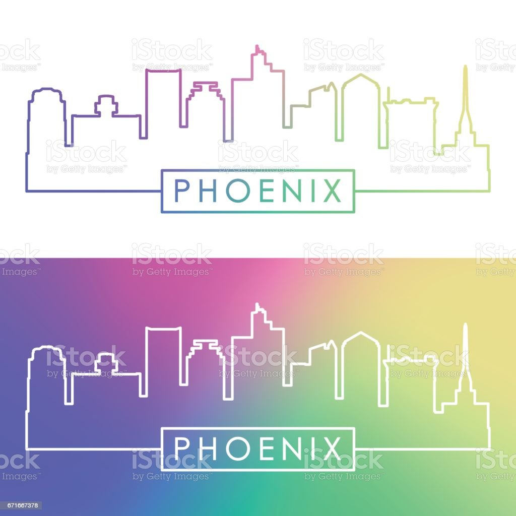 Phoenix skyline. Colorful linear style. vector art illustration