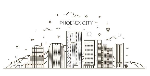 Skyline von Phoenix, detaillierte Silhouette. Trendige Vektor-Illustration, linearen Stil – Vektorgrafik