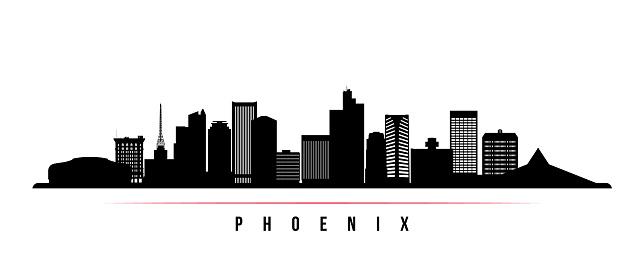 Phoenix skyline horizontal banner. Black and white silhouette of Phoenix, Arizona. Vector template for your design.