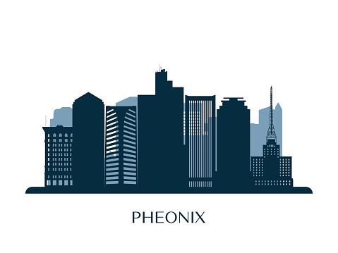 Phoenix skyline, monochrome silhouette. Vector illustration.