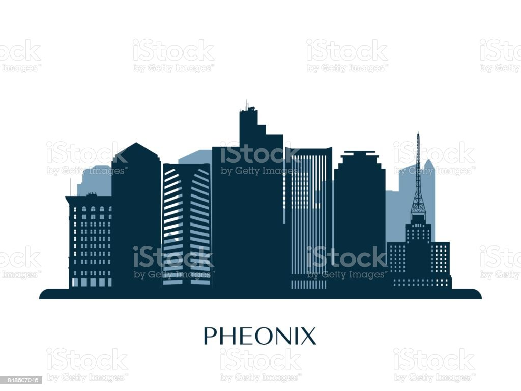 Phoenix skyline, monochrome silhouette. Vector illustration. vector art illustration