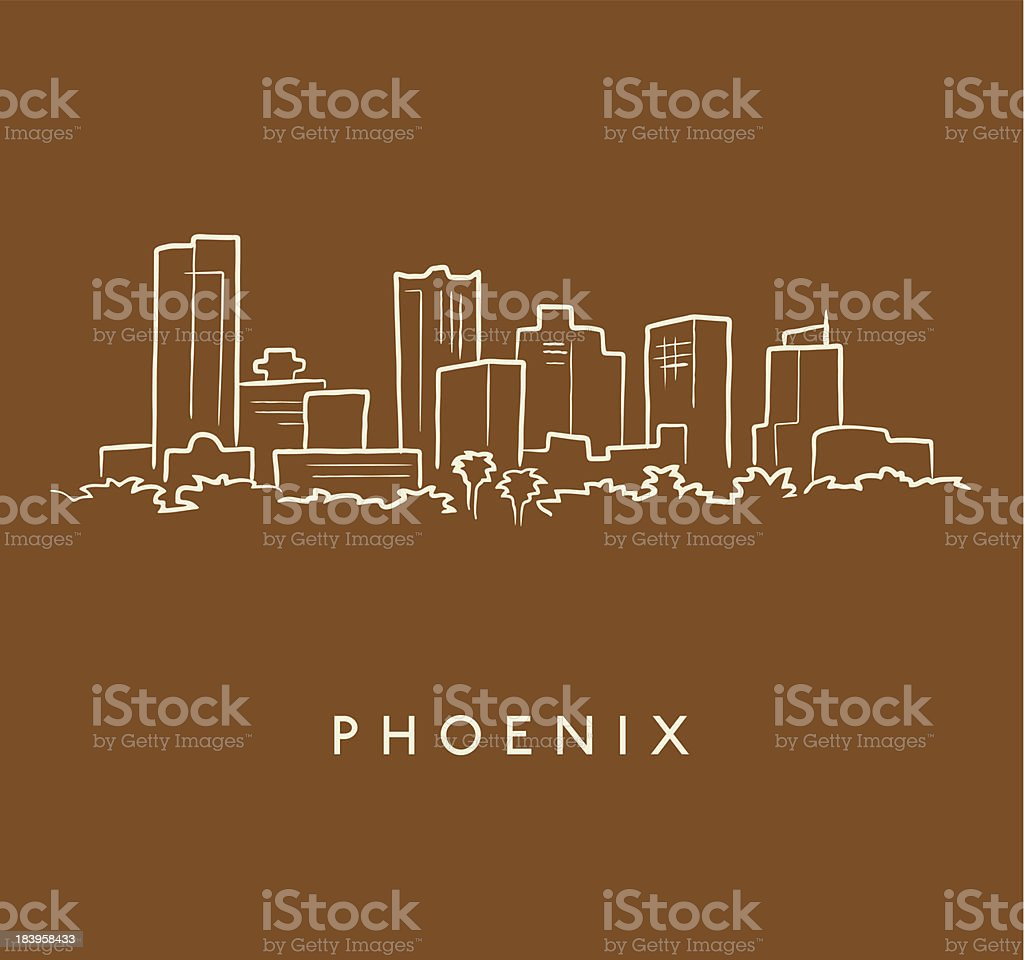 Phoenix Skyline Sketch vector art illustration