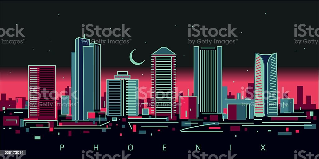 Phoenix skyline vector art illustration