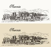 Phoenix skyline big city architecture vintage engraved vector illustration hand drawn sketch