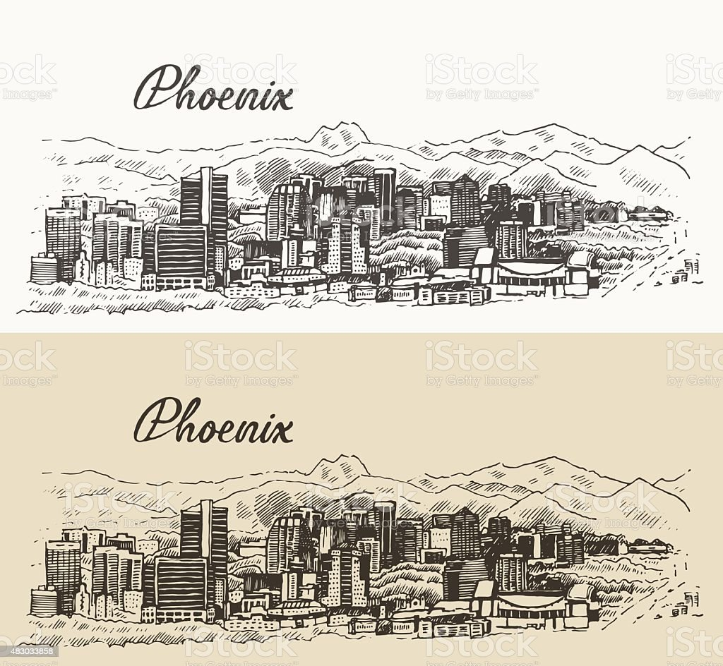 Phoenix skyline vector illustration hand drawn vector art illustration