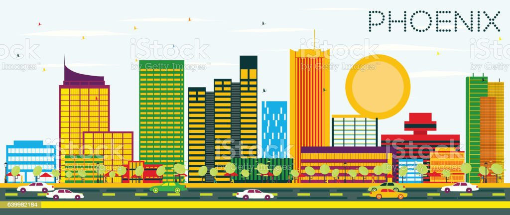 Phoenix Skyline with Color Buildings and Blue Sky. vector art illustration