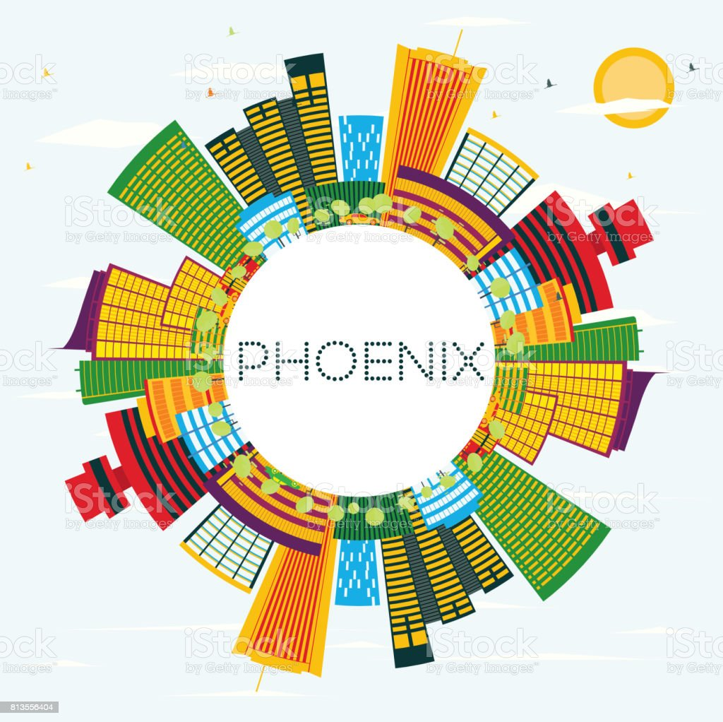 Phoenix Skyline with Color Buildings, Blue Sky and Copy Space. vector art illustration