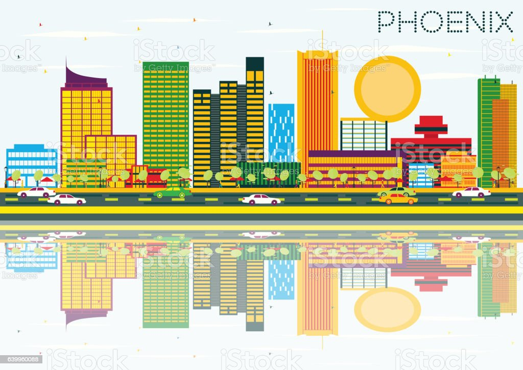 Phoenix Skyline with Color Buildings, Blue Sky and Reflection. vector art illustration
