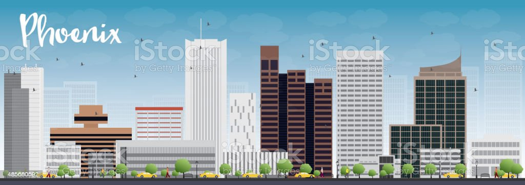 Phoenix Skyline with Grey Buildings and Blue Sky vector art illustration