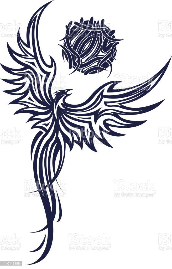 Phoenix tatoo royalty-free stock vector art