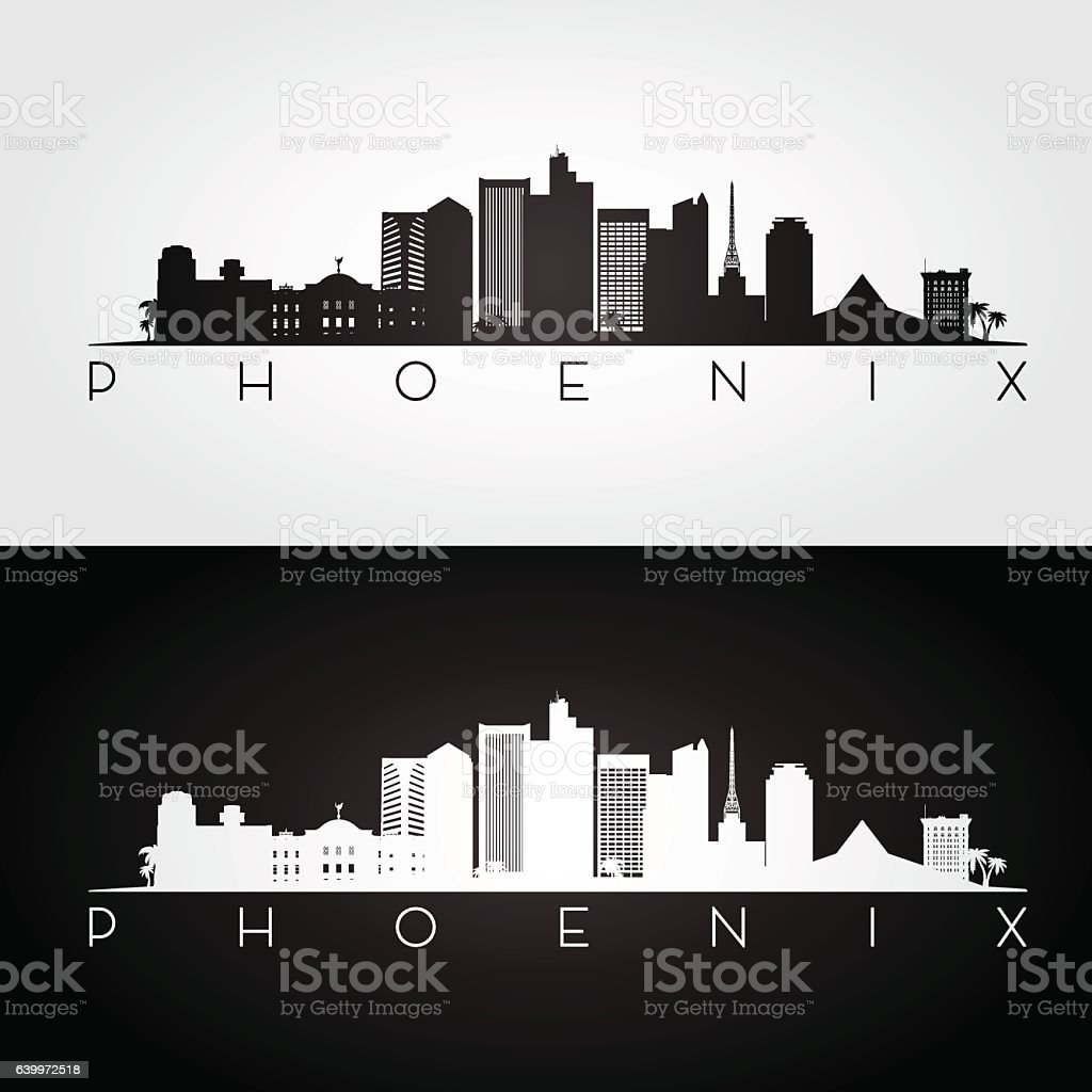 Phoenix USA skyline and landmarks silhouette vector art illustration
