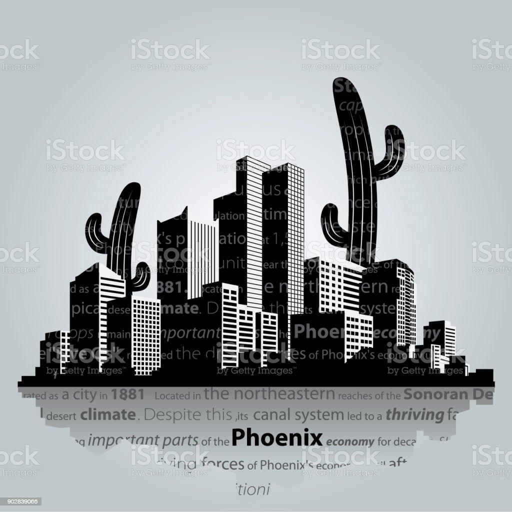 Phoenix vector cityscape. vector art illustration