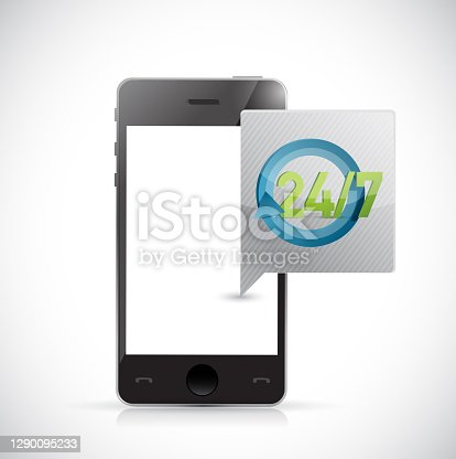 Phone 24 7 service message illustration design over a white background
