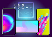 Phone Abstract Futuristic Wallpaper Collection. Creative Colorful Background on Device Display.