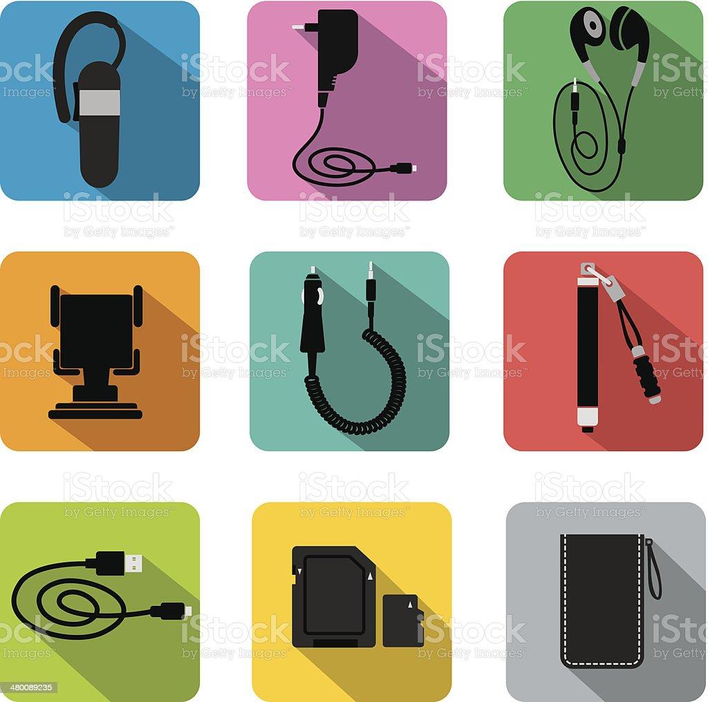 phone accessories vector art illustration