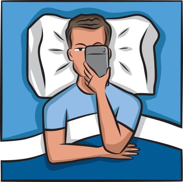 携帯電話中毒 - スマホ ベッド点のイラスト素材/クリップアート素材/マンガ素材/アイコン素材
