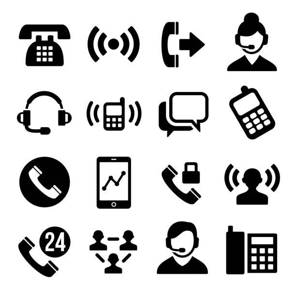 電話やコールセンターのアイコンを設定します。 - コールセンター点のイラスト素材/クリップアート素材/マンガ素材/アイコン素材