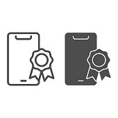 Phone and stamp with ribbon line and solid icon, smartphone review concept, best smartphone choice sign on white background, prize ribbon on mobile icon in outline style. Vector graphics