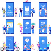 Phone app concept. Men and women standing near big cell phones with mobile apps on screen. Vector concept mobile app location and music, tracker run and weather illustration